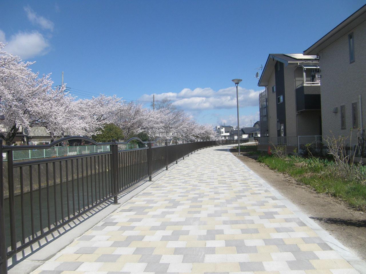 松並木土地区画整理事業 広瀬川河畔道路整備工事 写真